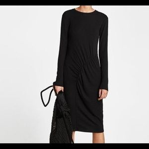 Zara ribbed gathered dress